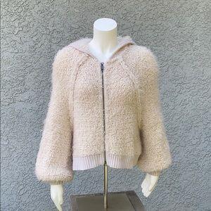 Free People Fuzzy Sherpa Crop Zip Jacket Coat